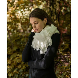 INC Scarf Cable Side Fringe One Size MSRP $35